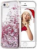 wlooo Funda para iPhone SE, Glitter liquida Cristal Silicona Lujo 3D Bling Flowing Transparente Cover Protector Suave TPU Bumper Case Brillante Arena movediza Carcasa para iPhone SE/5/5S (Oro Rosa)