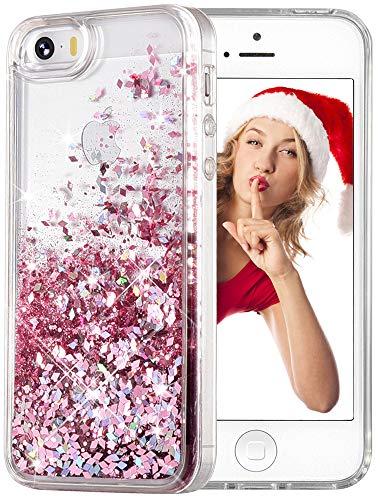 wlooo Glitzer Hülle Kompatibel mit iPhone SE/5/5S, handyhülle iPhone SE Glitzer, handyhülle iPhone 5S, Flüssig Treibsand Glitter Gradient Quicksand Weich TPU Silikon Schutzhülle (Rose Gold)