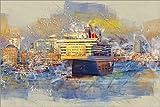 Poster 90 x 60 cm: Hamburg Queen Mary II, im Hintergrund