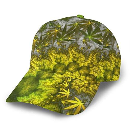 HARLEY BURTON Unisex Gorra de béisbol impresa entera marihuana cannabis sativa cáñamo psicodélico ajustable empalme Hip Hop Cap sombrero de sol negro