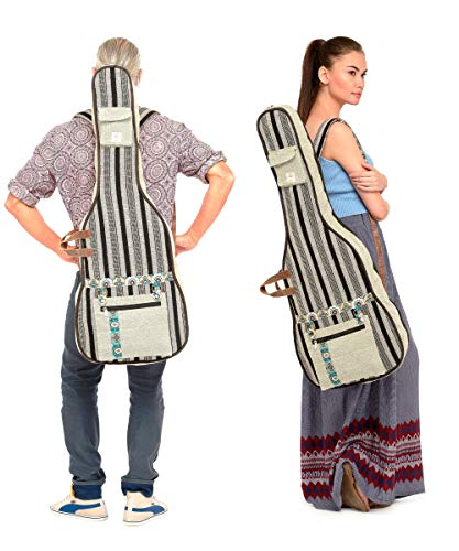 The-House-of-Tara-Black-Grey-Patterned-Handloom-Fabric-Guitar-Bag-Case-for-Men-and-Women