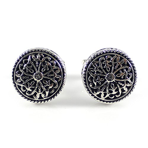MENDEPOT Fashion Celtic Cross Cufflink Antique Silver Tone Celtic Knot Cufflink with Box (MD0286A)