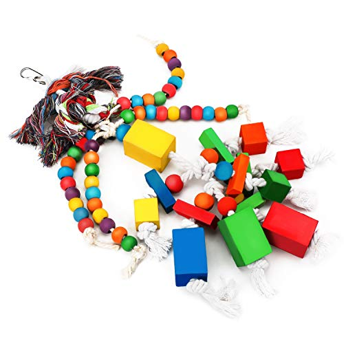 Segarty Bird Chew Toys for Parrot, Wooden Blocks Bird Toy with Cotton Ropes, Pet Bird Cage Accessories Toys for African Grey, Macaw, Cockatoos, Lovebirds, Cockatiels, Parakeet and Conures