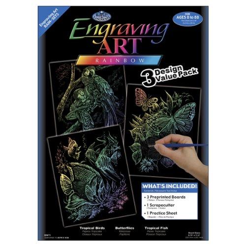 "Foil Engraving Art Kit Value Pack 8.75""X11.5""-Rainbow - Fish, Butterflies &"