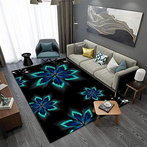 Alfombra De áRea Flor Fluorescente Azul Verde Negro Alfombra Antideslizante alfombras Salon...