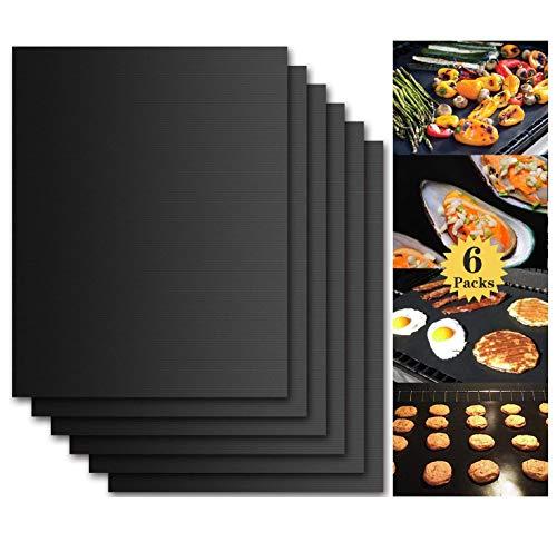 FYLD BbeeQ Lot de 6 Tapis de Barbecue en Silicone avec revêtement Teflon antiadhésif pour jusqu'à 300 °C Extra Grand (40 x 30 cm) et Durable 0,3 mm d'épaisseur Idéal pour Barbecue au gaz/Charbon