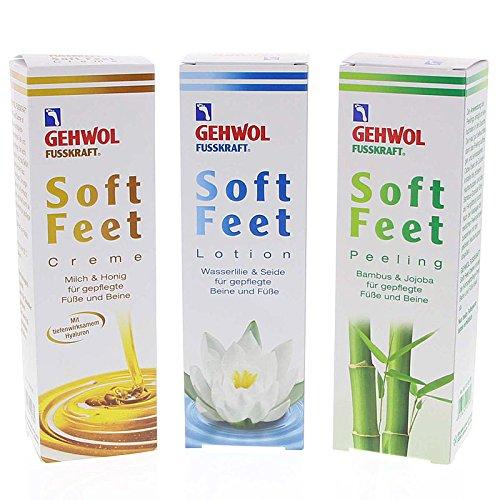 GEHWOL Set 3x Fusskraft Soft Feet, Fußcreme + Lotion + Peeling Sparpack