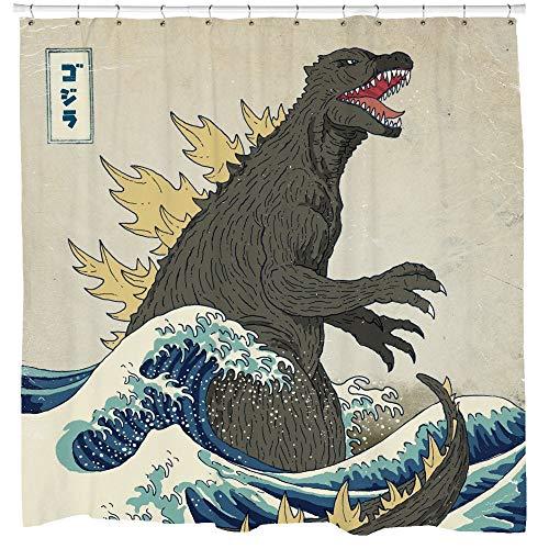 Promini Godzilla Cortina de Ducha, Cortina de Ducha Japonesa, del Arte Tradicional japonés, Gran Onda, 12 Ganchos, 180 x 180