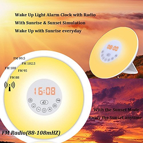 2017 NEWEST Wake Up Light Sunrise Alarm Clock radio alarm, Multiple Colors + Controllable Brightness as nightlight,Touch Control Sunrise and Sunset Simulation with FM Radio & Snooze Function clock
