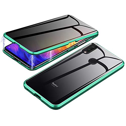 Jonwelsy Anti-Spy Funda para Xiaomi Redmi Note 7 Pro, 360 Grados Proteccion Case, Privacidad Vidrio Templado Anti espía Cover, Adsorción Magnética Metal Bumper Cubierta para Redmi Note 7 (Verde)