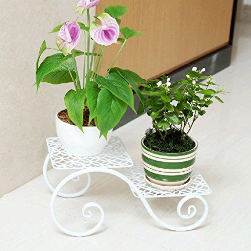 Udfybre Ensemble de Fleurs en Fer à Plusieurs étages, Balcon créatif, Salon, Pot de Fleurs, Bureau au Sol, à l'intérieur et à l'extérieur des Petits Racks de Fleurs (Couleur : Blanc, Taille : 38cm)
