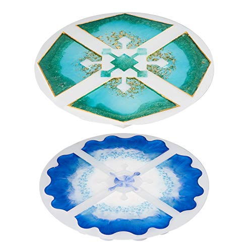 LETS RESIN Silicone Resin Molds, 2PCS Interlocked Coaster Molds, Epoxy Resin Molds for DIY Resin Agate Geode Slice Coasters, Jewelry Holders Dish, Home Decoration