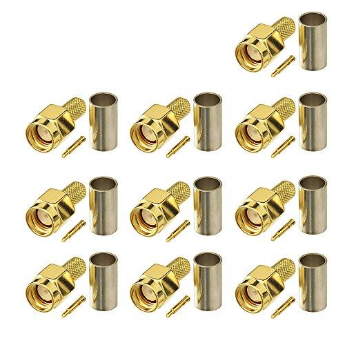 Eightwood SMA Stecker cb Funkantenne Stecker ST HF Steckverbinder Crimp RG58 Kabel für Walkie-Talkie Funkantenne 10 Stücke MEHRWEG