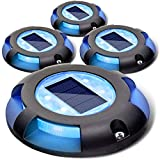 Siedinlar Solar Deck Lights Outdoor 2 Modes LED Driveway Markers for Dock Step Stair Walkway Pathway Garden Ground Yard Road Black 4 Pack (Blue/Red)