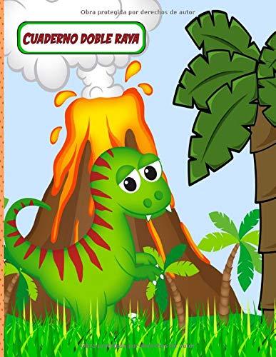 Cuaderno Doble Raya: Libreta de Escritura Portada de Dinosaurio