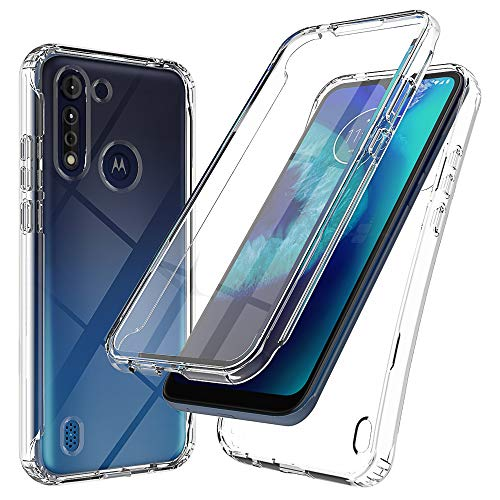 Teayoha Schutzhülle für Motorola Moto G8 Power Lite hülle, mit integriertem Bildschirmschutz, robust, transparent, Hybrid-Rückseite, transparent