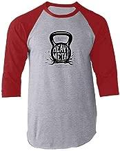 Pop Threads Kettlebell The Gods Made Heavy Metal Gym Fitness Raglan Baseball Tee Shirt
