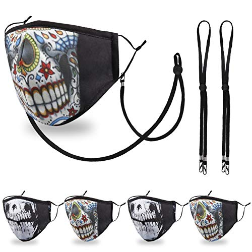 Funny Reusable Fashionable Face Mask Women Men, Adjustable Breathable Cotton Polyester Joker Clown Punisher Mouth Halloween Smiley Guy Horror Ghost Scary Mexican Sugar Skull Skeleton Day of The Dead