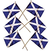 """Buzz SCOTLAND SMALL HAND FLAGS - SIX pack of St. ANDREW'S CROSS SCOTTISH SALTIRE FLAG - SNP SCOTTISH INDEPENDENCE FLAG HAND WAVING FLAGS (9"""" X 6"""" / 23 x 15CM - on a 12"""" / 30cm Wooden Stick)"""