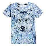 IDGREATIM Männer Hip Hop 3D Druck Wolf T-Shirt Beiläufige Grafik T Shirts