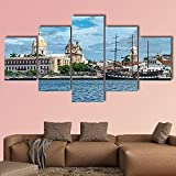 Cuadro de arte de pared con impresión de lienzo para decoración del hogar vista de cartagena de indiasa en colombia 5 piezas pintura de arte de pared de lienzo