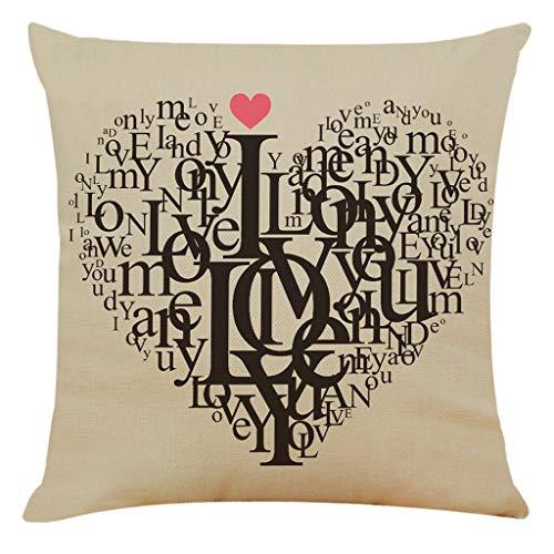 """AMhomely - Funda de cojín para el día de San Valentín, diseño de sofá, coche, decoración del hogar, mezcla de lino, Multicolor 6, 18""""x18"""" /45cm*45cm"""