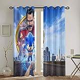 Cortinas opacas para oscurecer la habitación, cortinas decorativas Sonic the Erizo para dormitorio de 213 x 213 cm