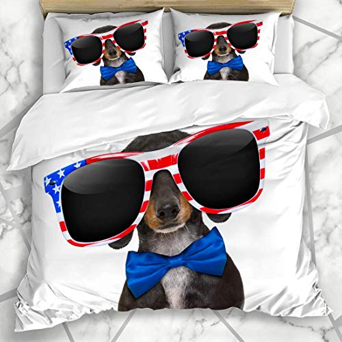 Duvet Cover Sets Free July Dachshund Sausage Dog Wearing Sunglasses Finger USA Patriotic Holidays 4Th Fourth America Microfiber Bedding with 2 Pillow Shams