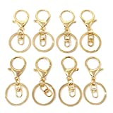Honbay 20pcs Zinc Alloy KC Gold Lobster Claw Clasp Keychain, Key Ring Loop Key Holders with Flat Split Ring