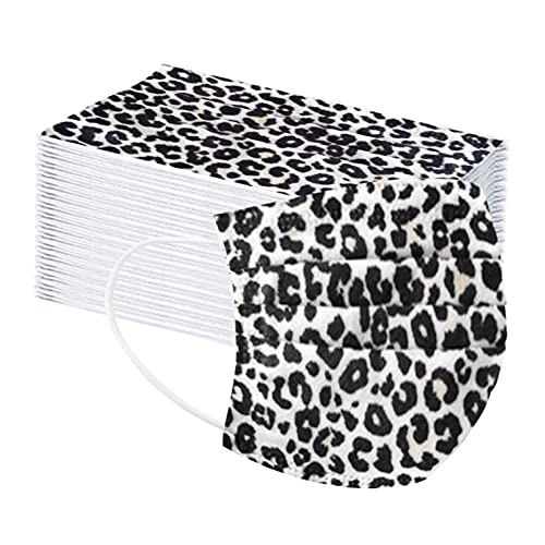 Disposable Face_Masks, 50 PCS Leopard Printed Disposable Face_Masks for Women Men Home & Office 3-Ply Breathable & Comfable Filter Facemask