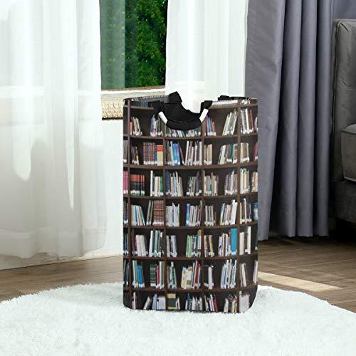 SURERUIM Wäschesack,Vintage realistisches Bücherregal lesen Wurm-Thema,Großer faltbarer Wäschekorb,zusammenklappbarer Wäschekorb,zusammenklappbarer Waschvorratsbehälter
