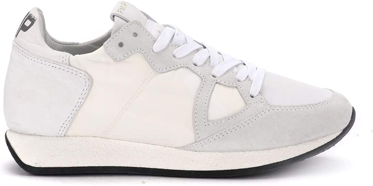 PHILIPPE MODEL Woman's Monaco Vintage White Fabric and Leather Sneaker