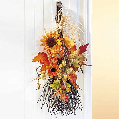 Unbekannt Herbstbesen, Deko-Idee Herbst Eingangsbereich Haustür Naturmaterial Kunststoff Gesamtlänge 60 cm