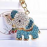 KJHKJH Lindo 3D Elefante Cristalino del Coche Llavero Mujeres Bolso Encantos Llaveros En La Bolsa De Elefantes Trinket Llaveros Accesorios-Blue