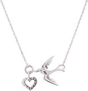 Bevilles Sterling Silver Cubic Zirconia Dove and Heart Necklace