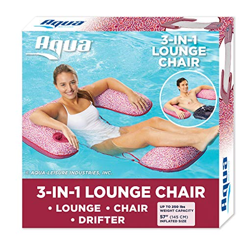 Aqua Mosaic 3-in-1 Pool Lounge Chair with Length Adjustment Toggles,...