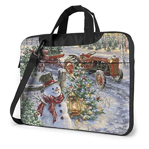 XIAONI Christmas Tree Farm Laptop Shoulder Bag Compatible with 13-15.6 Inch MacBook Pro,MacBook Air,Notebook Computer,Removable Shoulder Strap Waterproof Carrying Briefcase Sleeve for Men Women