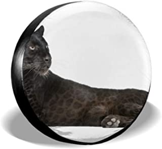 KUneh Black Leopard 6 Years Old Front Girl Tire Cover Cool Tire Covers Tire Cover Waterproof Uv Sun 14 - 17 Fit for Jeep Trailer Rv SUV and Many Vehicle