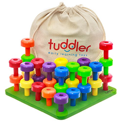 Tuddler Pegs Educational Board enthält eine Reihe von Hellen farbigen Stapeln / Montessori pädagogisches Spielzeug für Kinder + Pattern Card + Turnbeutel für die Lagerung des Spielzeugs + ebook