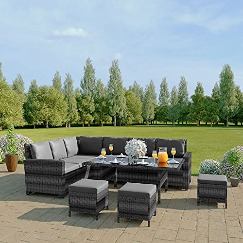 Abreo 9 Seater Corner Rattan Dining Set Garden Sofa Furniture Black Brown Grey (Mixed Grey and Dark Cushions) INCLUDES OUTDOOR WATERPROOF COVER