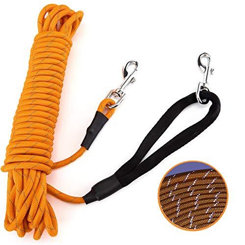 PETTOM Reflektierend Schleppleine für Hunde, 5m/10m/15m Seil Hundeleine Trainingsleine mit Handschlaufe & 2 Karabinerhaken, Langes Ausbildungsleine für kleine, mittelgroße Hunde