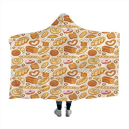 GGACEN Food Hooded Throw Blanket Soft Cloak Bakery Bread Croissant Bagel Cozy Throw Soft Warm Winter Novelty Blanket 50x40 inches
