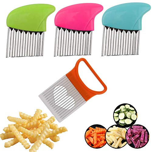 Crinkle Cut Knife set, 1 Fork Slicing Helper 3 Stainless Steel Crinkle Cutter, Fruit And Vegetable Wavy Chopper Knife, Potato Cutter Onion Cutter French Fry Cutter, 4 Colors, Kitchen Must Have Tool