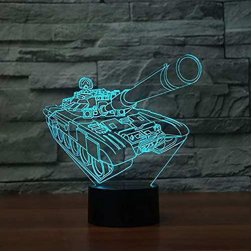 BFMBCHDJ Neue Tanks Form 3D Lampe LED Beleuchtung 7 Farbwechsel Tier USB 3D Nachtlicht Hause Raumdekoration Beste Kind Geschenk
