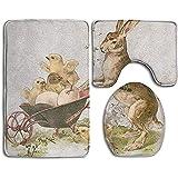 BOBO-Shop Alfombrillas de baño Set de 3 Piezas, Moda Pascua Conejo Polluelos Imprimir Alfombras de baño Antideslizantes + Funda de Inodoro + Alfombra de Contorno