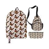 Conjunto de bolsos de la escuela, modelo de mariposa juvenil, conjunto de bolsas de la escuela de impresión 3D, mochila for niños lindos, bolso escolar for niños, caja de almuerzo, caja de lápiz, bols