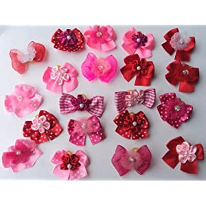 JJ Couture 30 Valentine's Day Dog Hair Bows Collection -Hot Pink/Pink/Red with Center Decorated with Flower