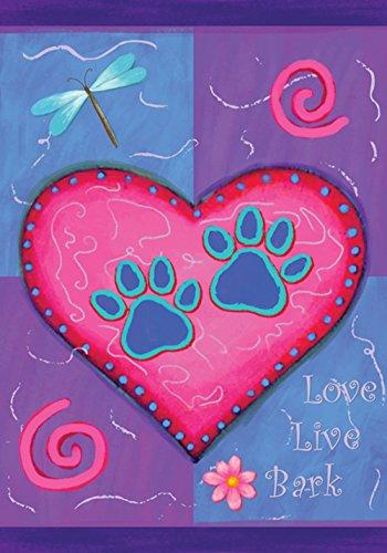 Toland Home Garden Love Live Bark 12.5 x 18 Inch Decorative Heart Puppy Dog Animal Pet Paw Garden Flag