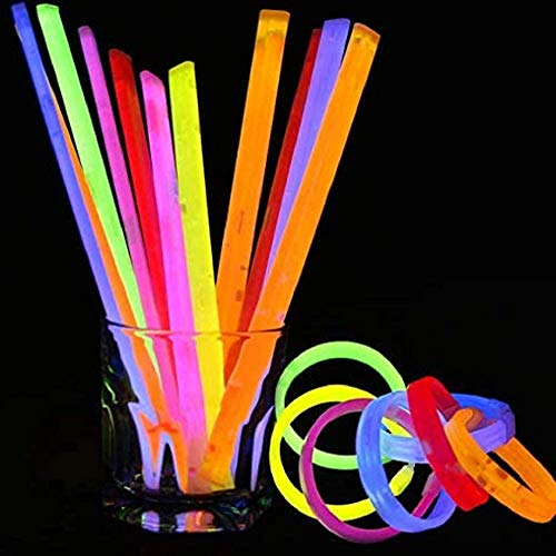 10 unidades de barras de brillo para fiestas a granel, 8 pulgadas que brillan en la oscuridad suministros para fiestas, palos de luz para collares y pulseras de neón