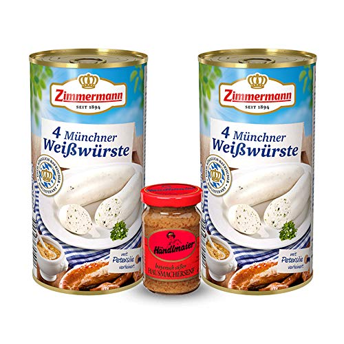 Bayerische Weißwürste aus der Dose inkl. Gratis Senf (2 Dosen & süßer Senf)